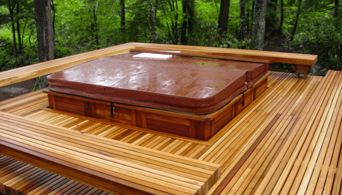 Rebuilt Deck with Built-In Hot Tub located in South Conway, NH